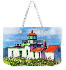 West Point Lighthouse Sketched Weekender Tote Bag