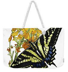 Western Tiger Swallowtail On A Western Wallflower Weekender Tote Bag