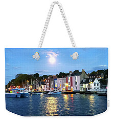 Weekender Tote Bag featuring the photograph Weymouth Harbour Full Moon by Anne Kotan