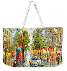 Weekender Tote Bag featuring the painting White Taxi by Dmitry Spiros