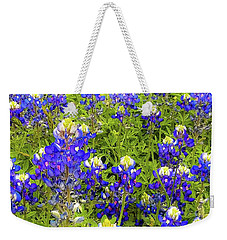 Weekender Tote Bag featuring the photograph Wild Bluebonnets Blooming by D Davila