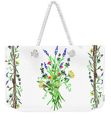 Weekender Tote Bag featuring the painting Wild Flowers Decorative Watercolor by Irina Sztukowski