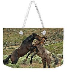 Wild Mustang Stallions Fighting Weekender Tote Bag