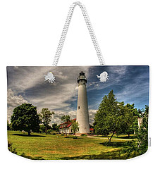 Wind Point Lighthouse Weekender Tote Bag by David Bearden