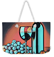 Wine Glass Bottle And Grapes Abstract Pop Art Weekender Tote Bag