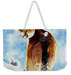 Winter Cougar Weekender Tote Bag by Jimmy Smith