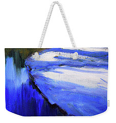 Weekender Tote Bag featuring the painting Winter River by Nancy Merkle