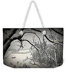 Weekender Tote Bag featuring the photograph Winter Scene In Switzerland by Susanne Van Hulst