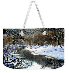 Weekender Tote Bag featuring the photograph Winter Stream  by Elaine Manley