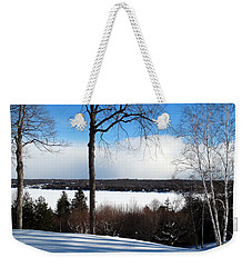 Winter View Of Sister Bay Weekender Tote Bag