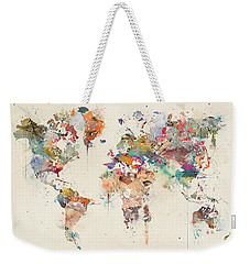 Weekender Tote Bag featuring the painting World Map Watercolor by Bri B