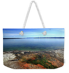 Weekender Tote Bag featuring the photograph Yellowstone Lake Colors by Frank Romeo