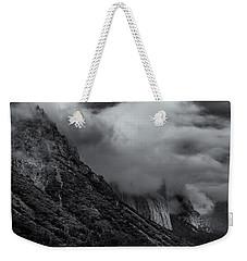 Yosemite Valley Panorama In Black And White Weekender Tote Bag