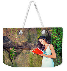 Young American Woman Reading Book At Central Park, New York, In  Weekender Tote Bag