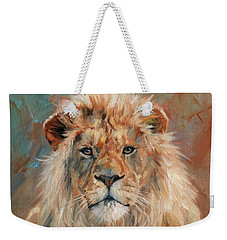 Weekender Tote Bag featuring the painting Lion by David Stribbling