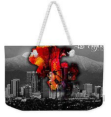 Los Angeles Map And Skyline Weekender Tote Bag by Marvin Blaine