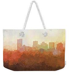 Weekender Tote Bag featuring the digital art Phoenix Arizona Skyline by Marlene Watson