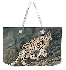 Weekender Tote Bag featuring the painting Snow Leopard by David Stribbling