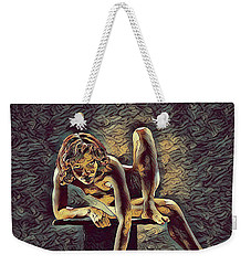 1003s-zac Necklace Of Bones Held By Beautiful Nude Dancer Weekender Tote Bag