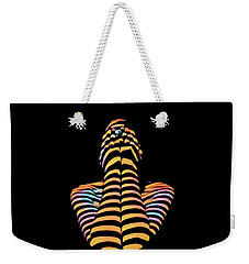 1183s-mak Hands Over Face Zebra Striped Woman Rendered In Composition Style Weekender Tote Bag