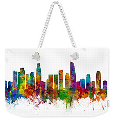Los Angeles California Skyline Weekender Tote Bag by Michael Tompsett