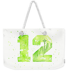 12th Man Seahawks Art Go Hawks Weekender Tote Bag by Olga Shvartsur