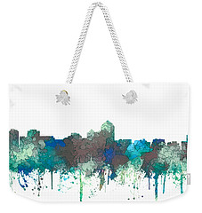 Weekender Tote Bag featuring the digital art Albuquerque New Mexico Skyline by Marlene Watson