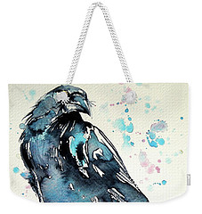 Weekender Tote Bag featuring the painting Crow by Kovacs Anna Brigitta