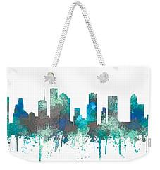 Weekender Tote Bag featuring the digital art Houston Texas Skyline by Marlene Watson