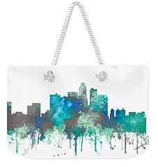 Weekender Tote Bag featuring the digital art Los Angeles California Skyline by Marlene Watson