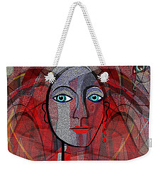 1459 Cubic Lady Face Weekender Tote Bag by Irmgard Schoendorf Welch