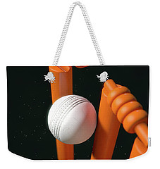 Cricket Ball Hitting Wickets Weekender Tote Bag by Allan Swart