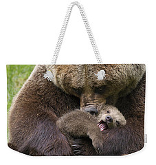 Mother Bear Cuddling Cub Weekender Tote Bag by Arterra Picture Library