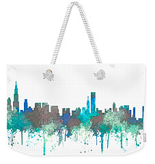 Weekender Tote Bag featuring the digital art Chicago Illinois Skyline by Marlene Watson