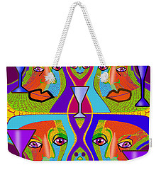 Weekender Tote Bag featuring the digital art 1688 - Funny Faces 2017 by Irmgard Schoendorf Welch