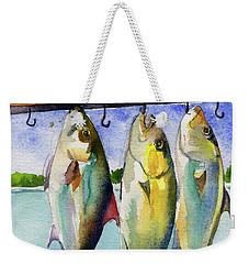 Weekender Tote Bag featuring the painting Amber Jack by Kris Parins