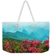 Blossoming Azalea And Mountain Scenery Weekender Tote Bag