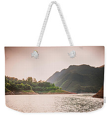 The Mountains And Lake Scenery In Sunset Weekender Tote Bag