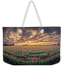 Weekender Tote Bag featuring the photograph 180 Degree View Of Sunrise Over Tulip Field by William Lee