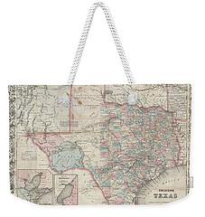1870 Colton Pocket Map Of Texas Weekender Tote Bag