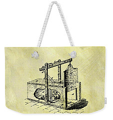Weekender Tote Bag featuring the mixed media 1870 Mousetrap Patent by Dan Sproul