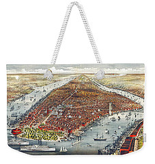 Weekender Tote Bag featuring the photograph 1876 Antique Map Of Manhattan by James Kirkikis