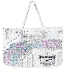 1880 Nevada County Mining Claim Map Weekender Tote Bag