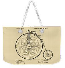 1881 Velocipede Bicycle Patent Artwork - Vintage Weekender Tote Bag