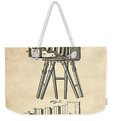 1885 Camera Us Patent Invention Drawing - Vintage Tan Weekender Tote Bag