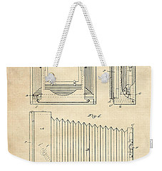 1891 Camera Us Patent Invention Drawing - Vintage Tan Weekender Tote Bag