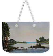 Weekender Tote Bag featuring the painting 19 Geese by Marilyn  McNish