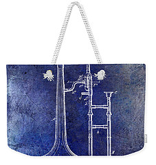 1902 Trombone Patent Blue Weekender Tote Bag by Jon Neidert