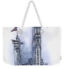 Weekender Tote Bag featuring the painting 1908 Times Square,ny by Andrzej Szczerski