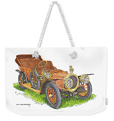 Weekender Tote Bag featuring the painting 1911 Delaunay Belleville Open Tourer by Jack Pumphrey